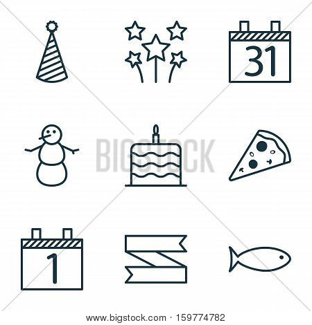 Set Of 9 Holiday Icons. Can Be Used For Web, Mobile, UI And Infographic Design. Includes Elements Such As Aquatic, Food, Piece And More.