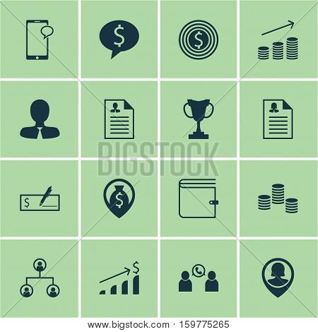 Set Of 16 Management Icons. Can Be Used For Web, Mobile, UI And Infographic Design. Includes Elements Such As Chat, Stacked, Application And More.