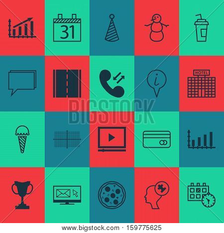 Set Of 20 Universal Editable Icons. Can Be Used For Web, Mobile And App Design. Includes Elements Such As Conference, Human Mind, Birthday Hat And More.