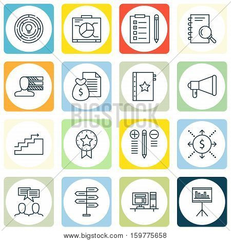 Set Of 16 Project Management Icons. Can Be Used For Web, Mobile, UI And Infographic Design. Includes Elements Such As Reminder, List, Badge And More.