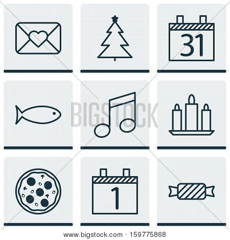 Set Of 9 Celebration Icons. Can Be Used For Web, Mobile, UI And Infographic Design. Includes Elements Such As Music, Caramel, Musical And More.