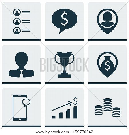 Set Of 9 Hr Icons. Can Be Used For Web, Mobile, UI And Infographic Design. Includes Elements Such As Coins, Employee, Increase And More.
