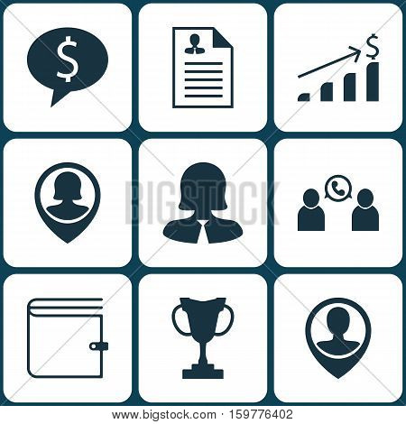 Set Of 9 Human Resources Icons. Can Be Used For Web, Mobile, UI And Infographic Design. Includes Elements Such As Career, Prize, Dollar And More.