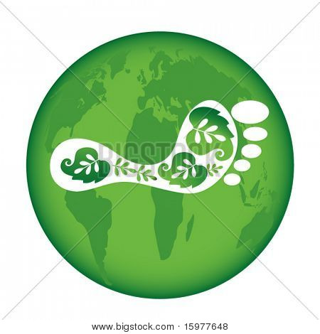 green globe with eco footprint