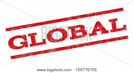 Global watermark stamp. Text caption between parallel lines with grunge design style. Rubber seal stamp with dust texture. Vector red color ink imprint on a white background.