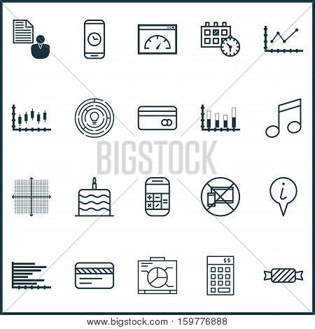 Set Of 20 Universal Editable Icons. Can Be Used For Web, Mobile And App Design. Includes Elements Such As Graphical Grid, Call Duration, Crotchets And More.