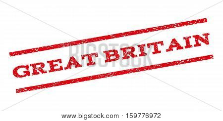 Great Britain watermark stamp. Text tag between parallel lines with grunge design style. Rubber seal stamp with unclean texture. Vector red color ink imprint on a white background.