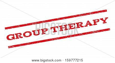 Group Therapy watermark stamp. Text caption between parallel lines with grunge design style. Rubber seal stamp with unclean texture. Vector red color ink imprint on a white background.
