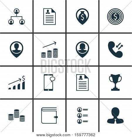Set Of 16 Hr Icons. Can Be Used For Web, Mobile, UI And Infographic Design. Includes Elements Such As Tree, Wallet, Chat And More.