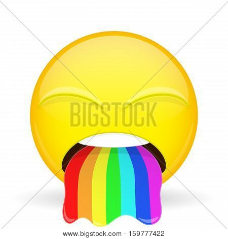 Barf emoji. Emotion of disgust. Spew rainbow emoticon. Cartoon style. Vector illustration smile icon.