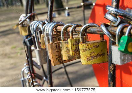MARCH 2015 - CHISINAU, MOLDOVA: Locks on a fence in Chisinau, Moldova in March 2015