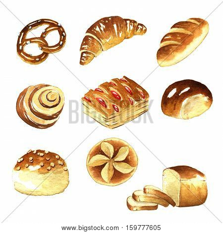 Watercolor Graphics bread on a white background