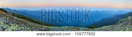 Summer Sunrise Mountain Panorama (carpathian, Ukraine).