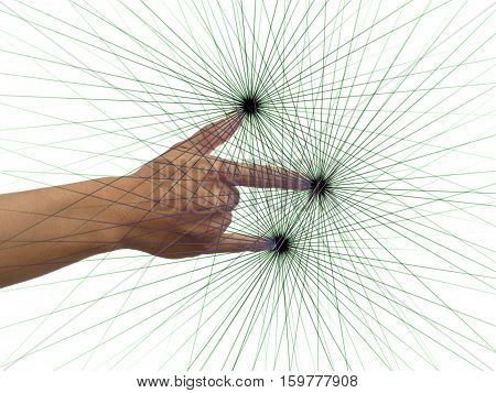 The gesture of the fingers with the effects of power.