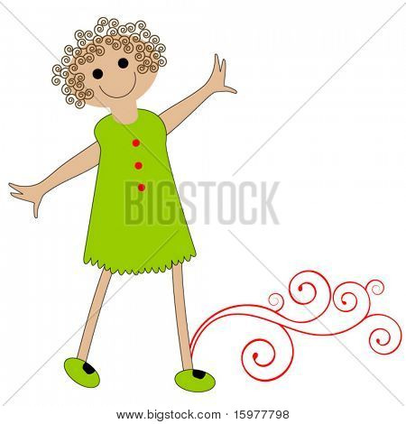 happy cartoon girl with curly hair