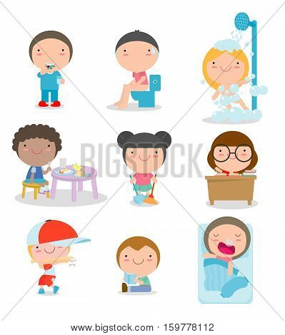 daily routines for kids, set of Little child daily activities, Vector Illustration on white background