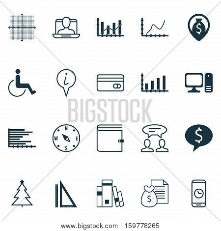 Set Of 20 Universal Editable Icons. Can Be Used For Web, Mobile And App Design. Includes Elements Such As Report, Wallet, Achievement Graph And More.