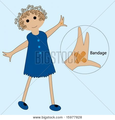 cartoon kid with bandage on hand (move bandage wherever you would like)