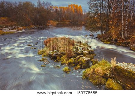 autumn landscape with forest lake, the Karelian isthmus, Russia