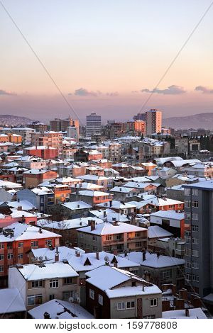 elevated view of houses and snowing in istanbul, Turkey