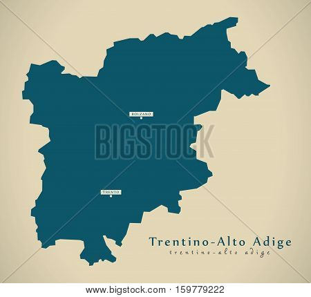 Modern Map - Trentino - Alto Adige IT Italy illustration