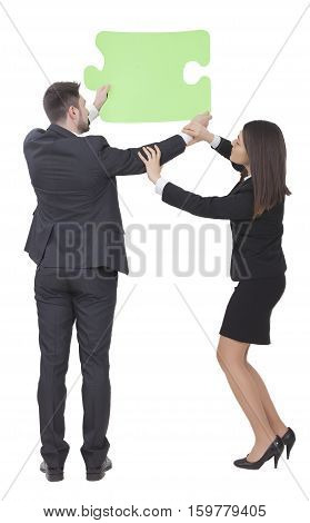 Businesswoman And Businessman Keeping Puzzle Piece