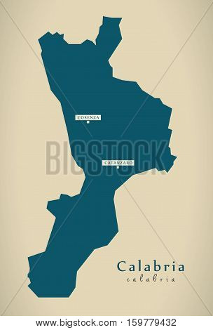 Modern Map - Calabria IT Italy illustration