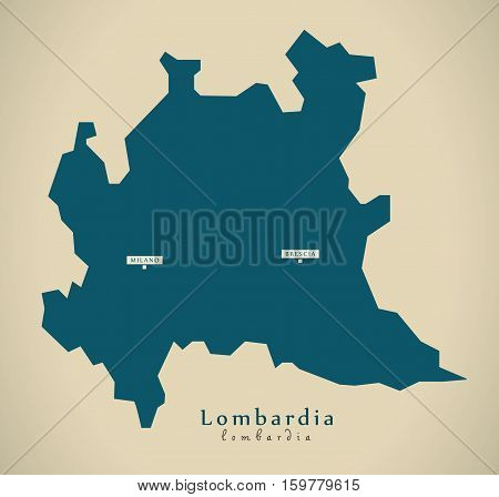 Modern Map - Lombardia IT Italy illustration