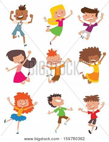 Happy children in different positions big vector collection. Jumping cheerful child group and funny cartoon kids joyful team. Laughing little people joy lifestyle characters.