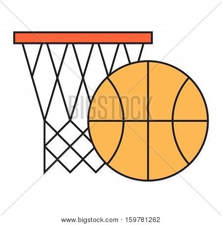 Basketball hoop sport basket game play competition equipment vector illustration. Team score vector tournament exercise. Success win activity net and ball object.