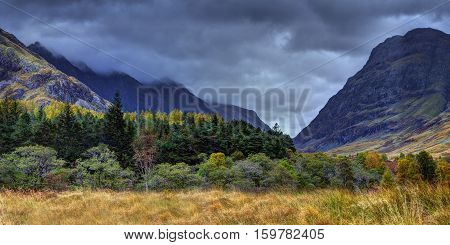 The Glencoe. River Coe valley. Cloudy and rainy october midday. Scottish highland Scotland.