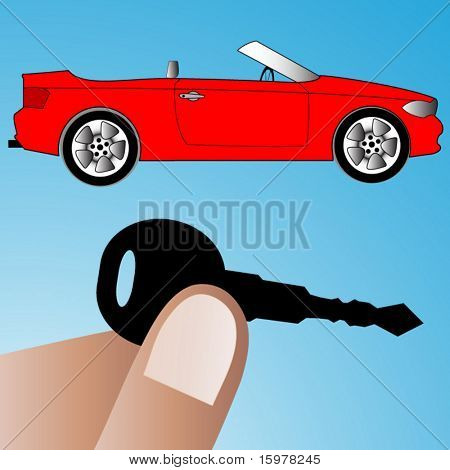 car with hand holding key