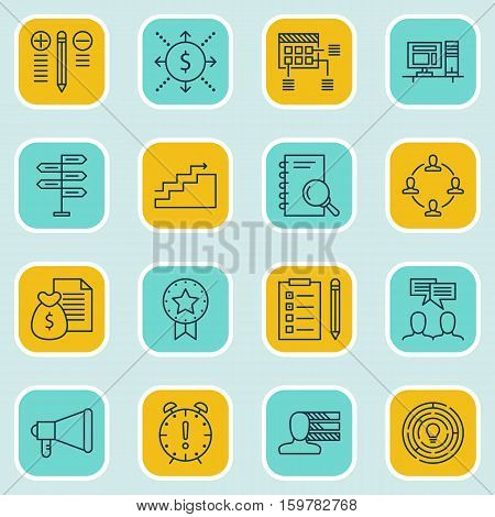 Set Of 16 Project Management Icons. Can Be Used For Web, Mobile, UI And Infographic Design. Includes Elements Such As Schedule, Personal, Fork And More.