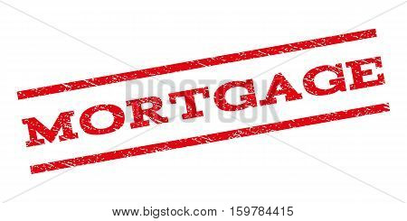 Mortgage watermark stamp. Text tag between parallel lines with grunge design style. Rubber seal stamp with scratched texture. Vector red color ink imprint on a white background.
