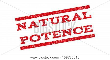 Natural Potence watermark stamp. Text caption between parallel lines with grunge design style. Rubber seal stamp with unclean texture. Vector red color ink imprint on a white background.