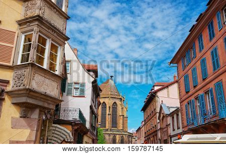 Eglise Street In Colmar In Alsace Of France