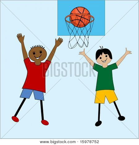 cartoon kids playing basketball