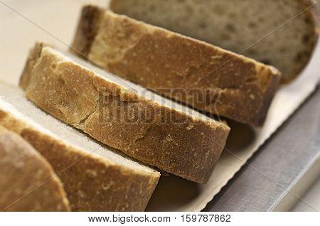 Close-up of sliced baguette