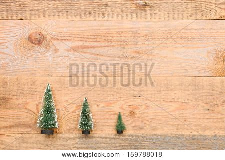Top view on three little Christmas trees on wooden background. Holidays and winter concept.