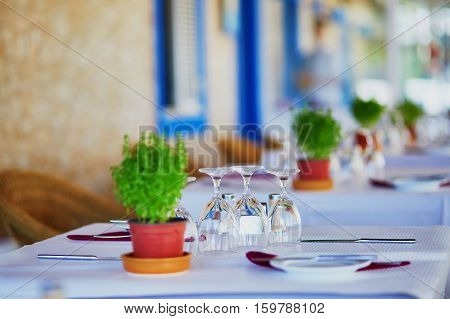Wine Glasses And Green Plant On The Table Of Restaurant In Portugal