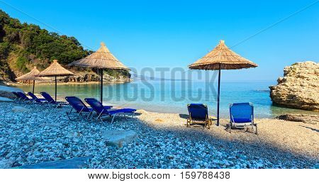 Summer Morning Pulebardha Beach (albania).