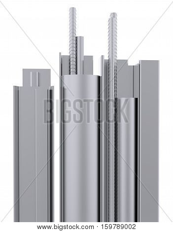 Metal products. Isolated on white. 3D Illustration