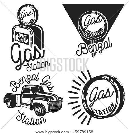 Set of Vintage gas station emblems and design elements , emblems, logo, labels.