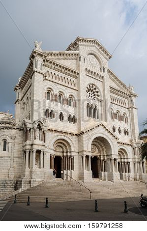 Monaco - November 4 2016: Exterior of the Monaco Cathedral (Cathedrale de Monaco) in Monaco. It's famous for the tombs of Princess Grace and Prince Rainier.