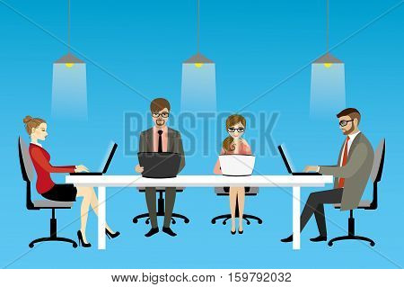vector illustration of coworking center concept, people working together and shared working environment