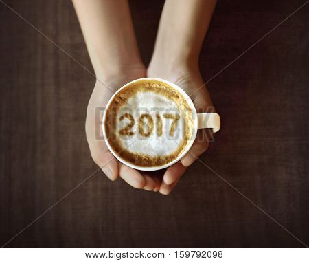 Image Of 2017 Number On Coffee