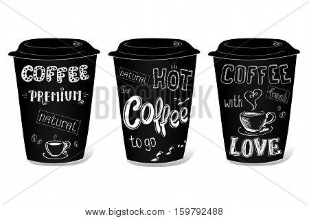 Black coffee cup covered with hand drawing on the theme of coffee, vector illustration on a white background.