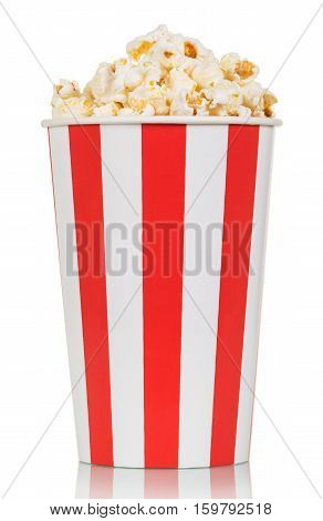 Large box of delicious fresh popcorn isolated on white background