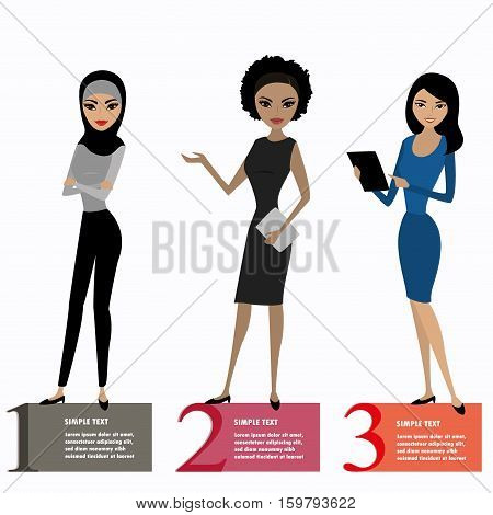 Three business woman standing , vector illustration isolated on white background