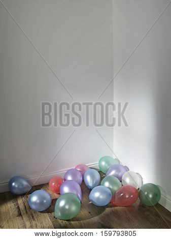 Party Balloons in a Corner